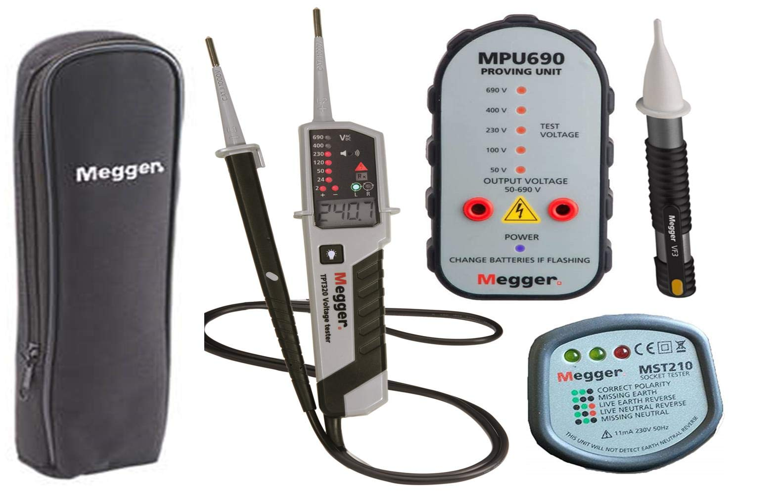 Continuity /& Phase Rotation Tester M Megger TPT320 KIT19 Voltage /& Continuity Tester Megger TPT320 LCD /& LED VF2 Can Be Used For Testing Auto Electrical And Fire Alarm Systems 12 To 690 Volt AC//DC MST210 /& Case Kit 0 To 500 Kilohm Two Pole Voltage