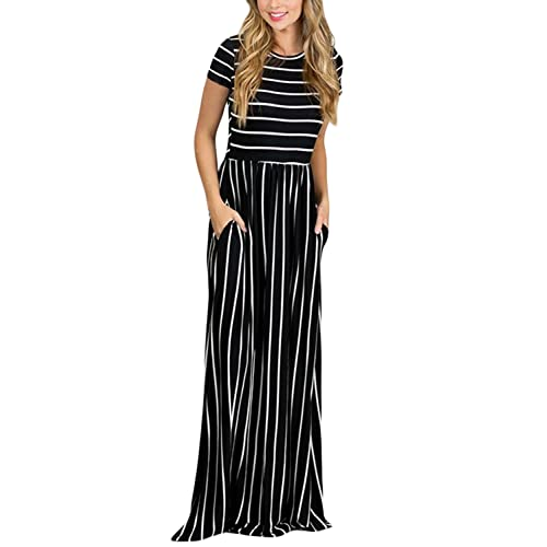 b94bb884bd87 HOTAPEI Women's Summer Casual Loose Striped Long Dress Short Sleeve Pocket Maxi  Dress