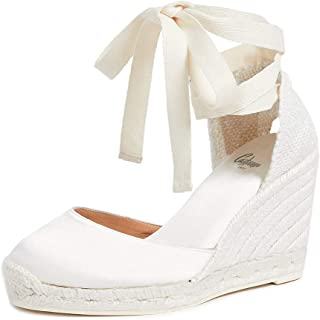CASTANER Women's Carina C Satin Off White Wedge Espadrilles