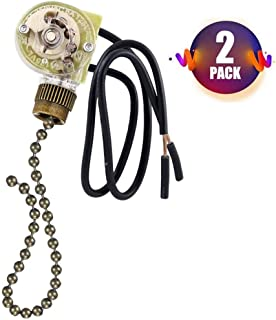 Ceiling Fan Switch Pull Chain Switch 3 Speed Fan Light Switch,2 PACK Zing Ear ZE-109 ON-OFF Pull Chain Lamp Switch for Ceiling Fan Lights Bronze
