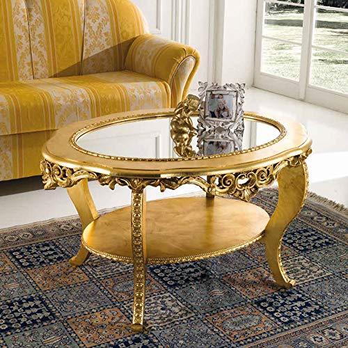 Mocada Tavolino Classico Ovale da Salotto Intagliato a Foglia Oro Doppio Piano