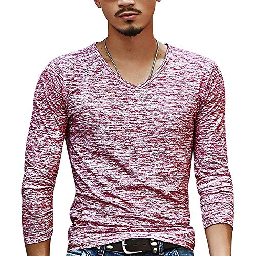 Derrick Aled(k) zhuke Camisetas Casuales para Hombre Camisetas De Manga Larga con Cuello En V Camisetas Delgadas Ropa Camiseta De Moda OtoñO Color SóLido Fondo