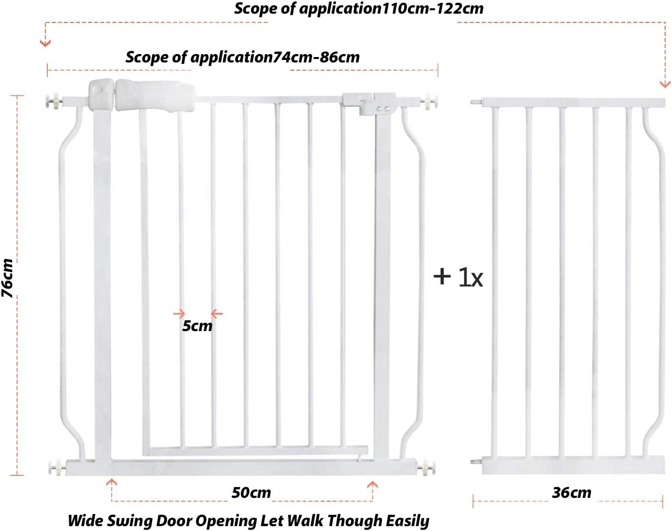Easy Install and Auto Close Pets Gates for Stairs Doorways and Hallways Walk Thru Dog Gate for House Extra Wide Tall Metal Baby Child Gate Afinder Kids Indoor Safety Gates