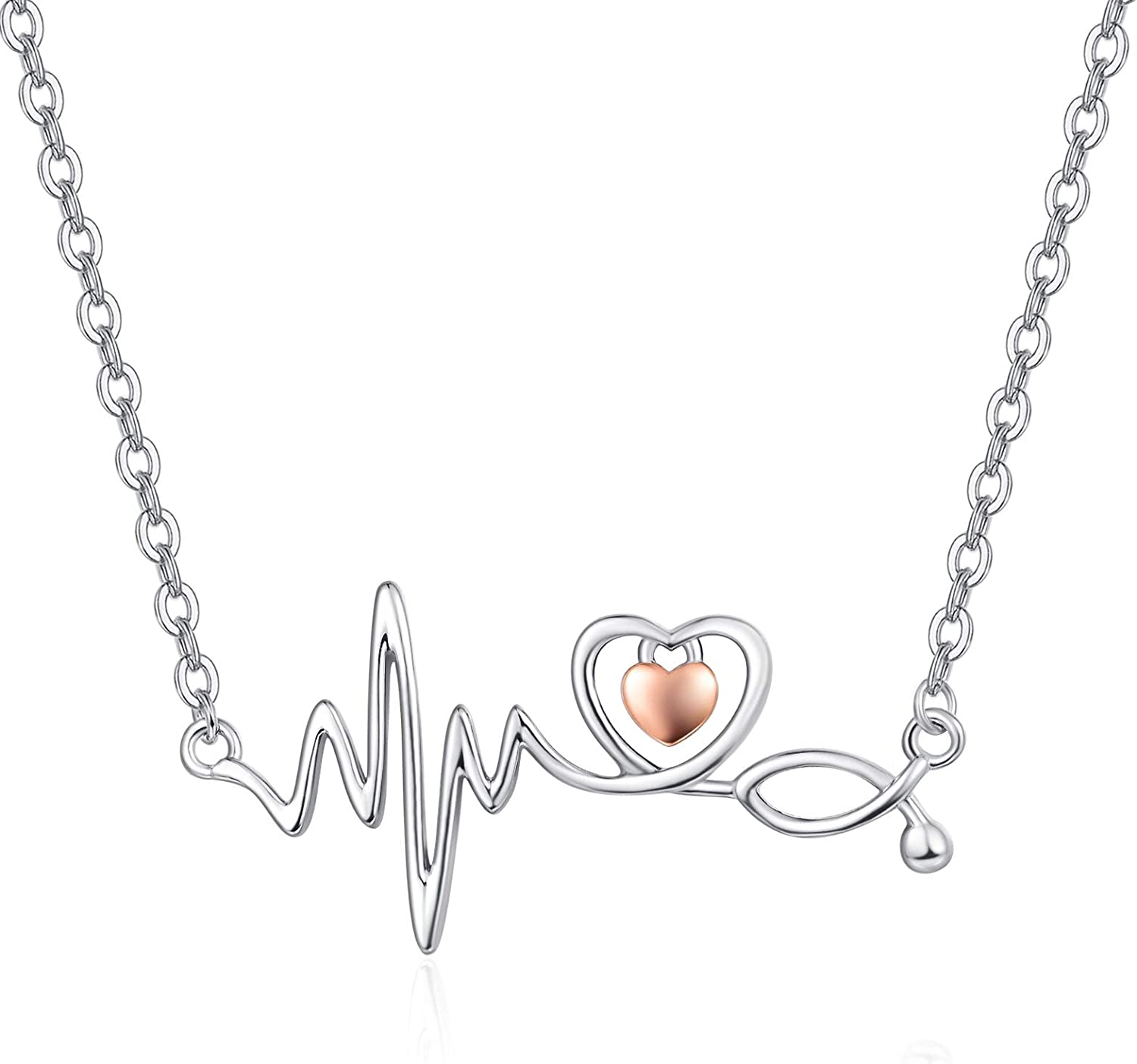 925 New Ranking TOP4 product type Sterling Silver Stethoscope Jewelry Necklace Nursing Pendant