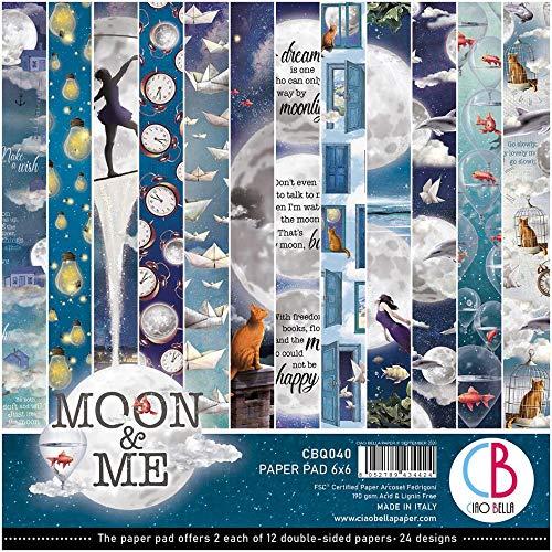 Ciao Bella Paper Moon & Me - Bloc de papel de doble cara (15 x 15 cm)