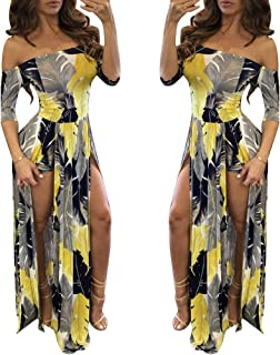 Romper Split Maxi Dress High Elasticity Floral Print Short Jumpsuit Overlay Skirt for Summmer Party Beach S-5X