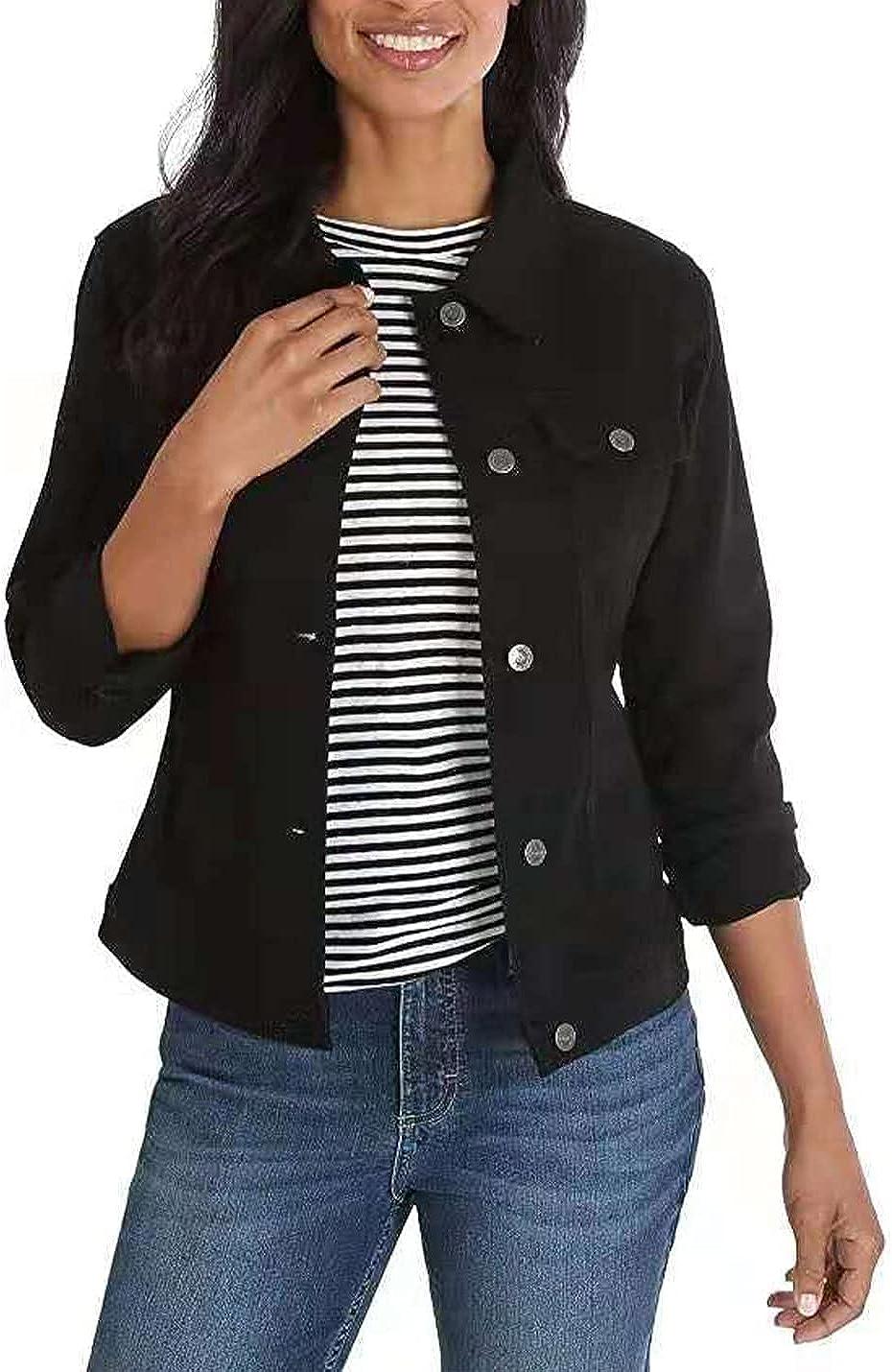 Peacwglad Women's Solid Color Long-Sleeved Single-Breasted Denim Jacket Slim Jacket