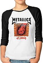IOJFE St.Anger Studio Metallica Womens Plain Raglan T Shirt 3/4 Sleeve Casual Round Neck