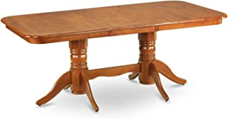 East West Furniture Rectangular Round Corner Dining Table with 18-Inch Self Storage Leaf