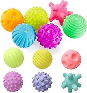 REYOK Bolas Sensoriales para Bebés Juguetes Bebe,12 Pcs Multi-Touch Textured Senses Soft Hand Ball Juguete de Pelota de Ma...