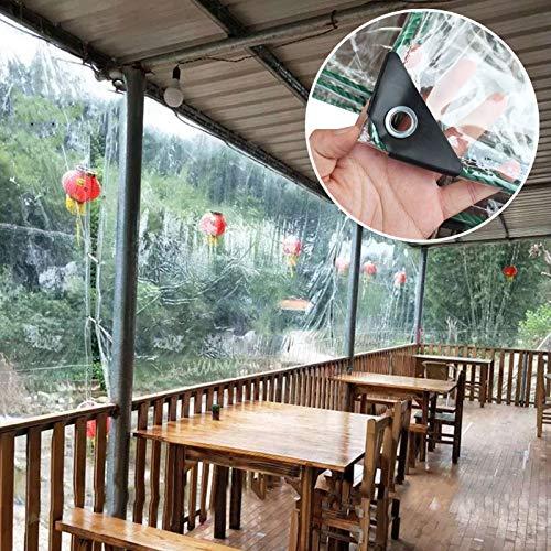 MAHFEI Lonas Impermeables Exterior, Cubierta Impermeable Transparente De PVC Toldos con Ojales De Metal Cortina De Partición Resistente Al Viento Mantener Caliente para Carros Bote Cámping