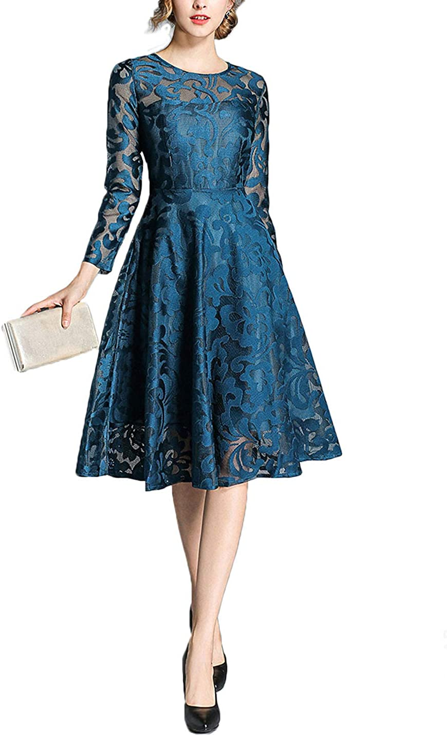 Flygo Women's Vintage Floral Lace Round Neck Long Sleeve Cocktail Party Dress