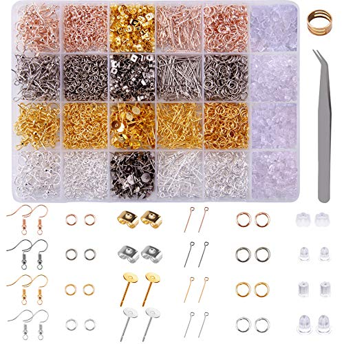 BQTQ 3600 Pieces Earring Making Kit with Earring Hooks, Earring Posts and Backs, Eye Pins and Jump Rings for Earrings Making Supplies and Repairing