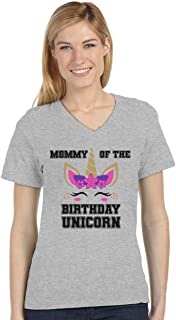 Mommy of The Birthday Unicorn Party Matching Family V-Neck Fitted Women T-Shirt