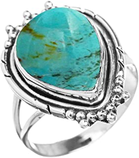 5.60ctw, Genuine Turquoise 10x14mm Pear & .925 Silver Overlay Handmade Fashion Rings