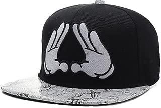 Adjustable Hands Snakeskin Print Black Snapback Cap Hat for Men Baseball Cap