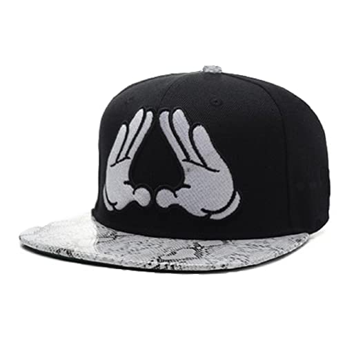 YCMI Adjustable Mickey Hands Snakeskin Print Black Snapback Cap Hat for Men  Baseball Cap 07515b6e211