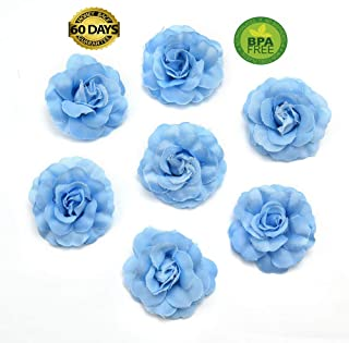 fake flowers heads Artificial Silk Mini Rose Flower Head Wedding Home Decoration DIY Garland Scrapbook Gift Box Craft Fake Flower 30pcs/lot 4.5cm (Blue)