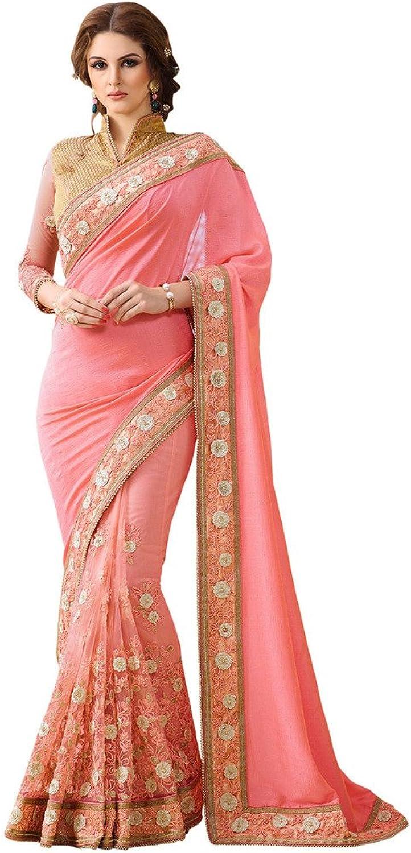 EthnicWear Net Silk Designer Indian Womens Wedding Wear Peach Saree