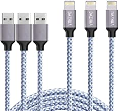 iPhone Charger, DAZHWA Phone charger Nylon Braided 3pack 6ft Lightning Cable Cell Phone Charger Cable Cord USB Cable Compatible iPhone 11 Pro Max XS XR X 8 7 6S 6 Plus 5 More