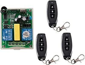 AC 220 VAC RF 2 canales inalámbrico de control remoto 1 * receptor + 3 * Transmisor manguera de motor de garaje de proyección pantalla cabrestante 3 botones