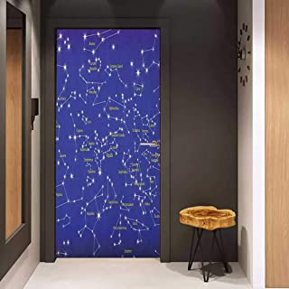 Onefzc Glass Door Sticker Decals Constellation Astronomy Science Names of Stars Zodiac Signs Night Sky Door Mural Free Sticker W32 x H80 Violet Blue White Pale Yellow