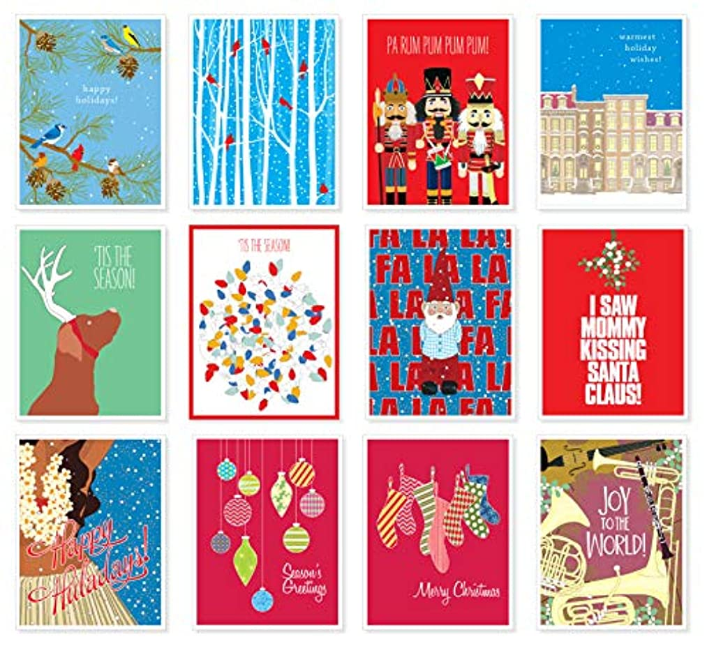 Apartment 2 Cards 12 Mix Value Pack Assorted Christmas Holiday Premium Greeting Cards - Set of 12
