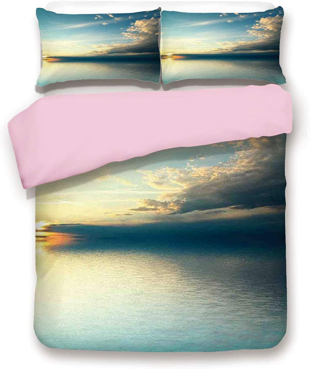Pink Duvet Cover Set,King Size,Panorama of Sea Sunset Sundown Reflection Horizon Dark Clouds Nature Picture Print,Decorative 3 Piece Bedding Set with 2 Pillow Sham,Best Gift for Girls Women,Teal Aqua