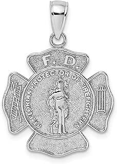 14K White Gold F.D. Saint Florian Medal Maltese Cross Fire Dept. Pendant