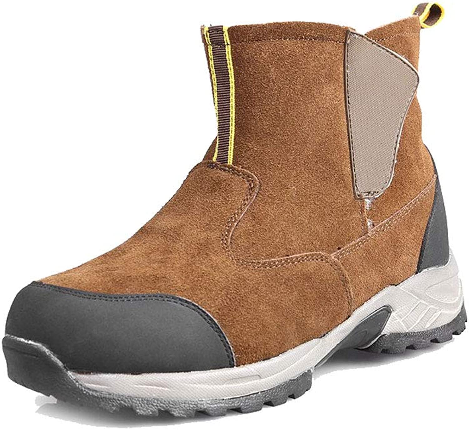 Ailj Snow Boots, Men's Leather Warm Boots, Thick Cotton shoes, Outdoor Cotton Boots, Non-Slip Waterproof, (Brown)