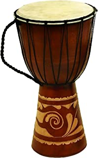 "Deco 79 89847 Wood Leather Djembe Drum Home Décor Product, 16""H/9""W"