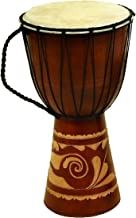 Deco 79 89847 Wood Leather Djembe Drum Home Décor Product, 16