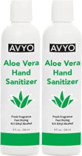 Aloe Vera Hand Sanitizer | Ethyl Alcohol 62% | Gel | In Stock Made in USA � (8 Fl oz - 2 Pack)