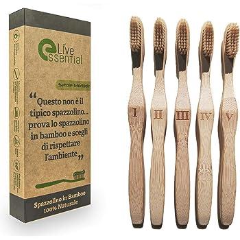 Live Essential Cepillo de dientes de Bambú Biodegradable con ...