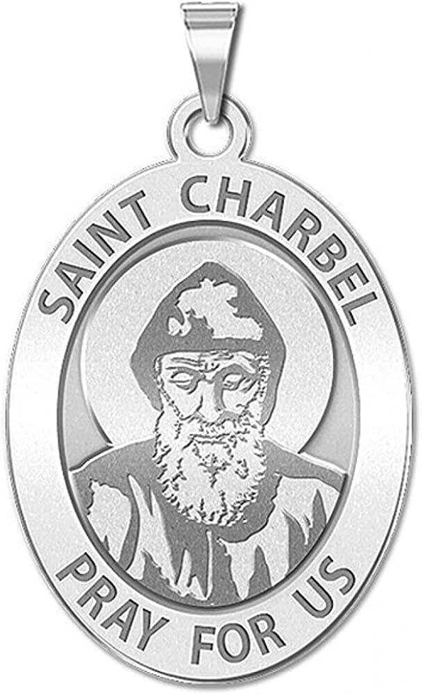 PicturesOnGold.com Max 67% OFF Saint Charbel Oval Religious Medal 1 - X 2 Boston Mall