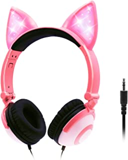 ONTA Kids Headphones with Cute LED Glowing Cat Ears,Foldable, Noise-Canceling and Adjustable Toddlers Headphones for Boys and Girls (Pink)
