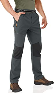 Wohthops Men's Hiking Pants Waterproof Winter Outdoor Pants Lightweight and Fleece Lined with Multi Zipper Pockets