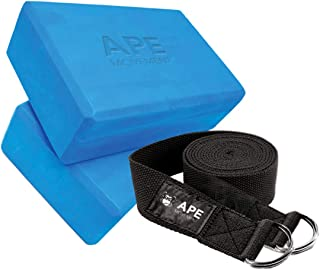Ape Movement Yoga Block Set 2 Pack & Double D-Ring Yoga Strap, Durable EVA Foam to Help Deeper Stretching, Improve Posture, Balance & Flexibility, Belt Doubles as Yoga Mat Sling