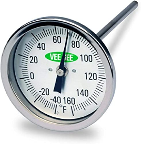"Vee Gee Scientific 82160-6 Dial Soil Thermometer, 6"" Stainless Steel Stem, 3"" Dial Display, -40 to 160-Degree F,Silver"