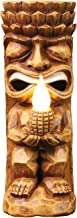 WHAT ON EARTH Solar Tiki God Totem Flickering Flame Sculpture - Light Up Patio, Lawn and Garden Ornament - 11 1/2
