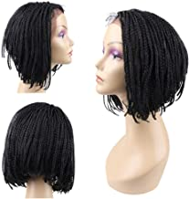 HAIR WAY Box Braided Wigs Bob Lace Front Wig for Black Women Glueless Short Bob Braided Lace Wig with Baby Hair for Daily Wear Half Hand Tied 12inches #1B