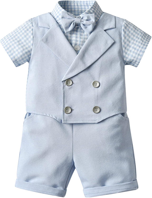 Haitryli Kids Boys Summer Short Set Short Sleeve Lapel Collar Shirts and Shorts Wedding Party Suit