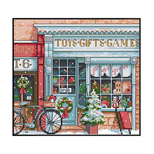 Proumhang 14 CT Kits de bordado de bricolaje Mantel de bordado de punto de cruz 2 hilos Aida Canvas Impreso 27x23cm: Tienda de juguetes de Navidad