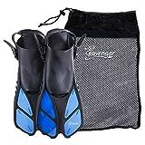 Seavenger Torpedo Swim Fins | Travel Size | Snorkeling Flippers with Mesh Bag for Women, Men and Kids (Blue, L/XL)
