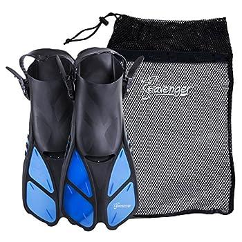 Seavenger Torpedo Swim Fins | Travel Size | Snorkeling Flippers with Mesh Bag for Women Men and Kids  Blue L/XL