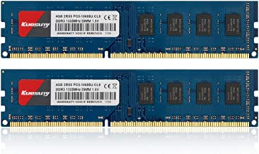 8GB Kit (4GBX2) DDR3 1333 Udimm RAM, Kuesuny PC3-10600 PC3-10600U 1.5V CL9 240 Pin Non-ECC Unbuffered Desktop Memory Modules(Blue)