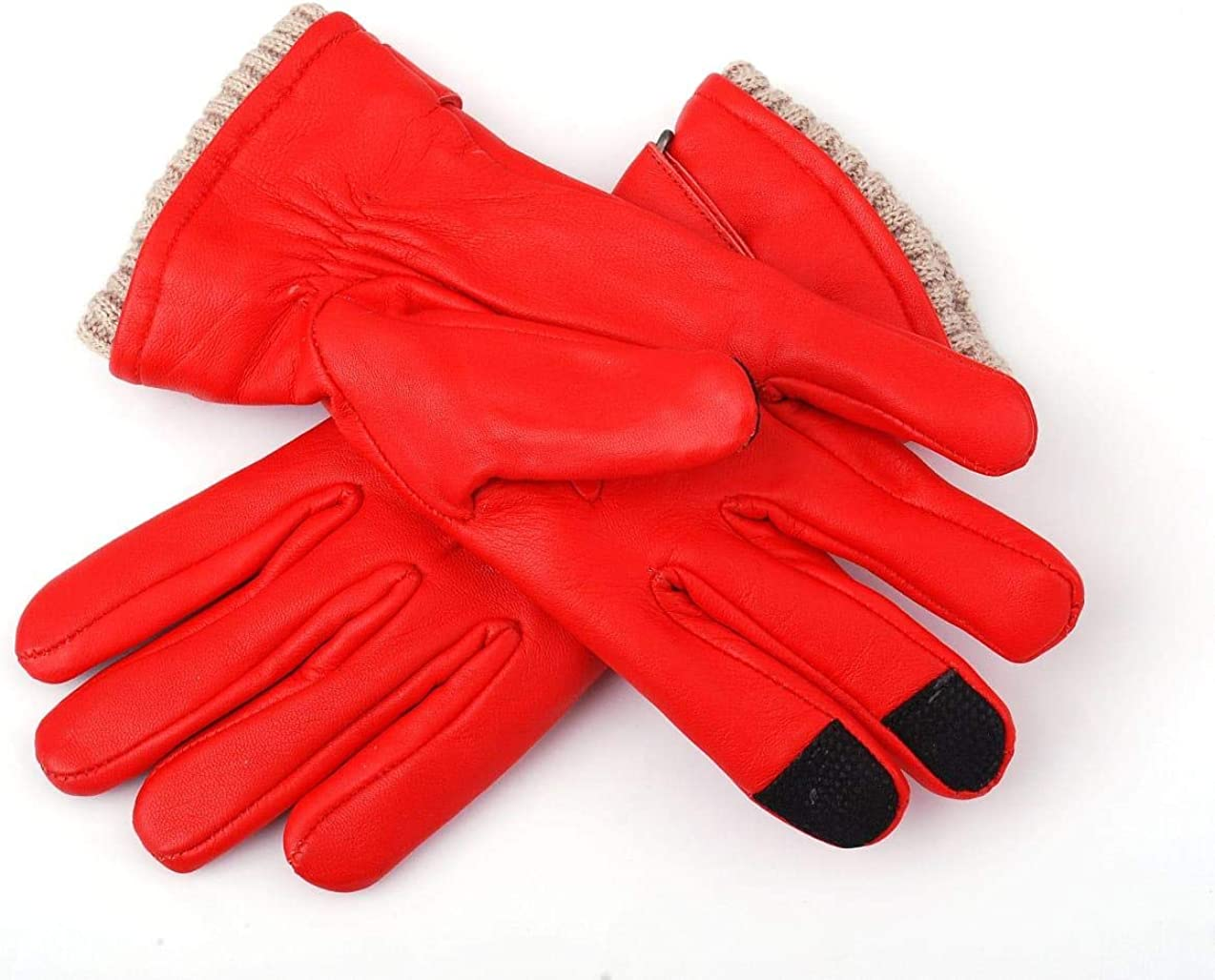 Women Genuine Sheep Leather Winter Dress Driving Riding Texting Gloves with Wool and Fleece Lining (Red, Large)