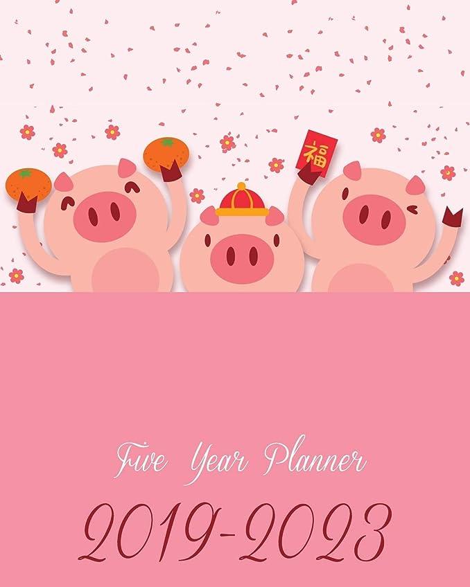 カスタム独特の優雅なFive Year Planner 2019-2023: Pink Cute Pigs Cover, 8