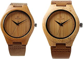 StillCool Men's Wood Watch, Natural Bamboo and Sandalwood with Quartz Movement, Genuine Leather Strap