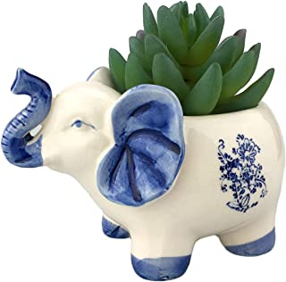 VanEnjoy Elegant Blue and White Handmade Cute Cartoon Elephant Ceramic Succulent Pots Planters, with Drainage Hole, Flower Pot, Ceramic Animal Ornaments for Office Desktop